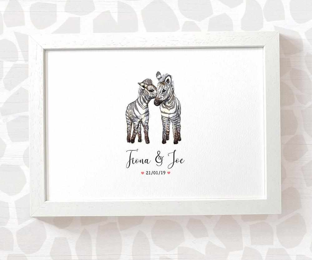 Zebra couple wedding name and date print