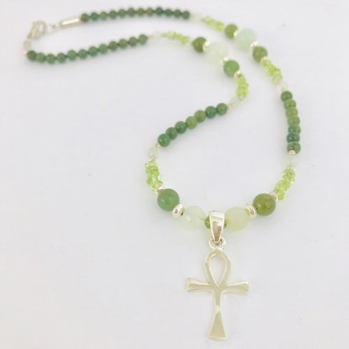 Sterling Silver Ankh Necklace with Jade, Serpentine Jade & Peridot