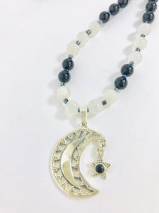Moon & Star Sterling Silver Necklace with Onyx & Moonstone