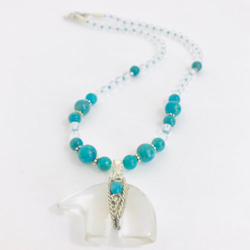 Clear Quartz Bear Necklace with Turquoise & Sterling Silver Beads