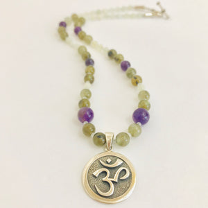 Sterling Silver Om Necklace with Amethyst, Jade & Serpentine Jade