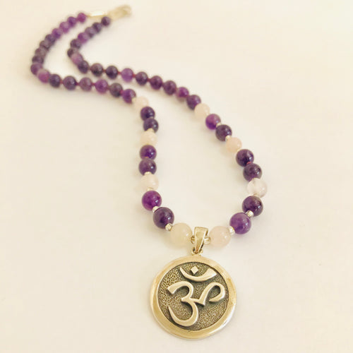 Sterling Silver Om Necklace with Amethyst & Rose Quartz