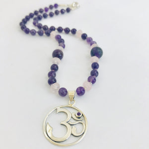 Om Necklace with Amethyst & Rose Quartz