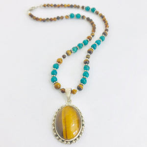 Sterling Tiger Eye Necklace with Turquoise & Sterling Silver Beads