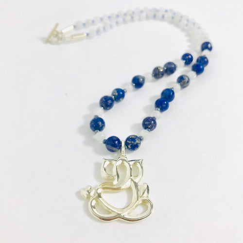 Sterling Silver Ganesh with Rainbow Moonstone & Lapis