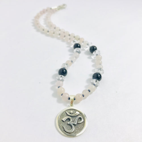 Sterling Silver Om Necklace with Rose Quartz, Onyx & Clear Quartz