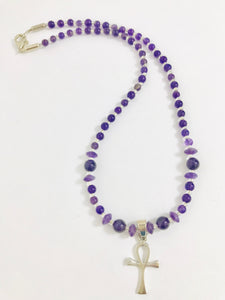 Sterling Silver Ankh Necklace with Amethyst