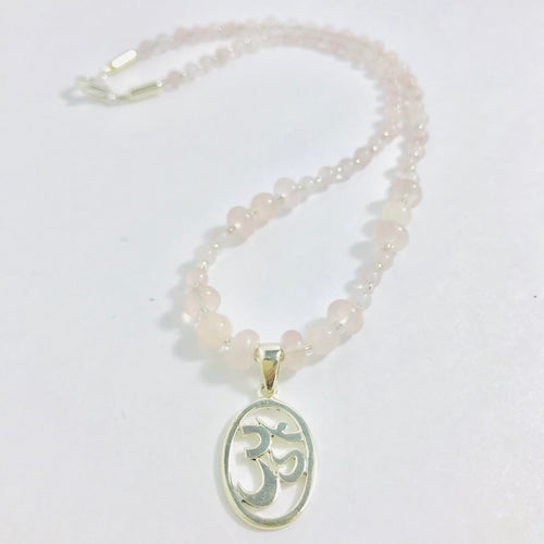 Sterling Silver Om Necklace with Rose Quartz
