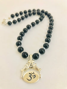 Sterling Silver Om & Yin Yang Necklace with Onyx & Moonstone