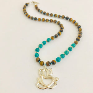 Sterling Silver Ganesh Necklace with Turquoise & Tiger Eye