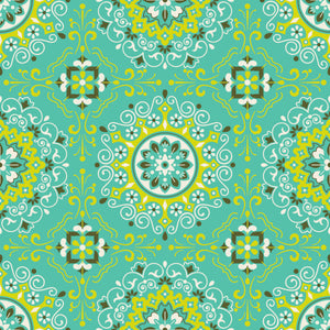 Bailey in Aqua - Cotton Fabric By The Yard