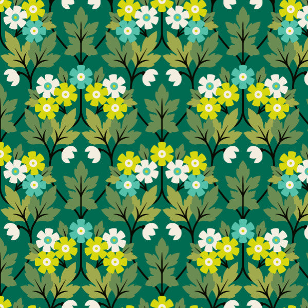 Bramwell in Green - Cotton Fabric By The Yard