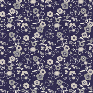 Breeze in Navy - Cotton Fabric By The Yard