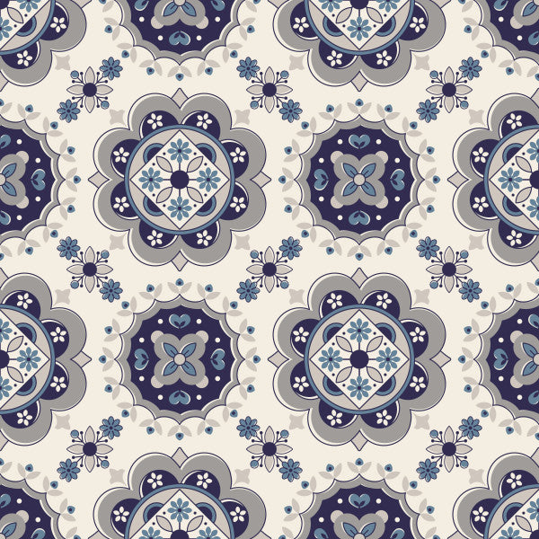 Medallion in Gray - Cotton Fabric By The Yard