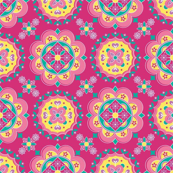 Medallion in Fuchsia - Cotton Fabric By The Yard