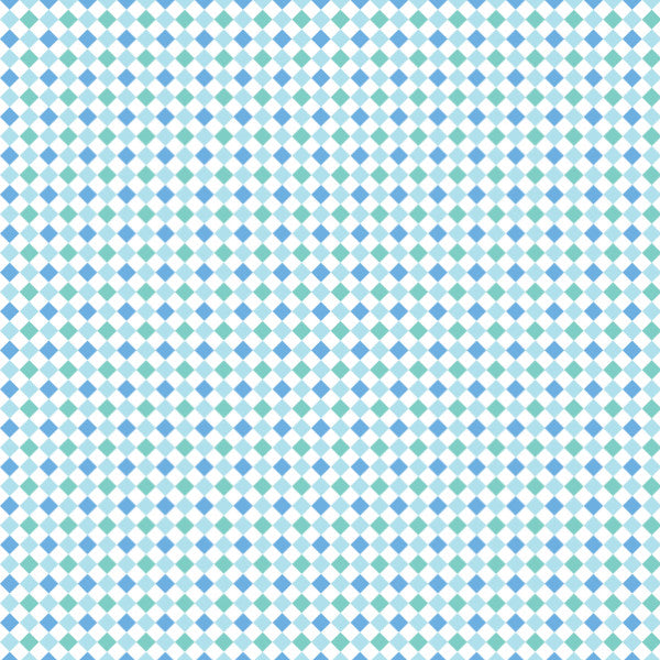 Harlequin in Blue - Cotton Fabric By The Yard
