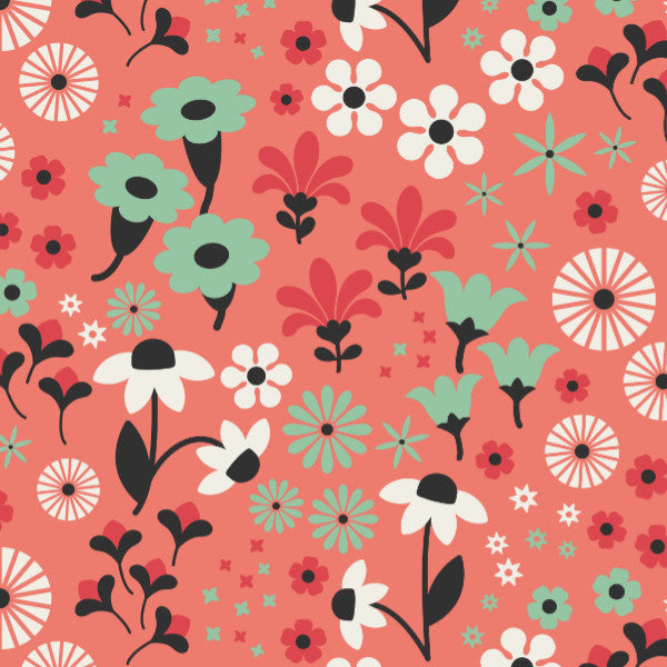 Gala in Coral - Cotton Fabric By The Yard