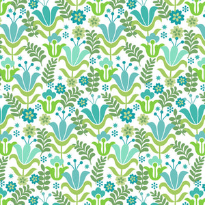 Jane in Green - Cotton Fabric By The Yard