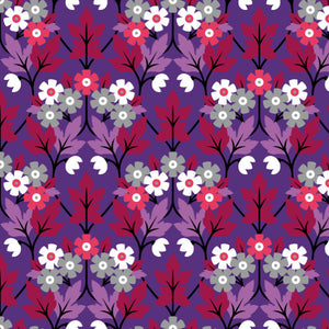 Crawford in Purple - Cotton Fabric By The Yard
