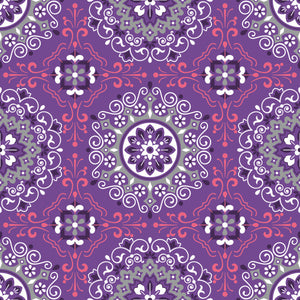 Carli in Purple - Cotton Fabric By The Yard