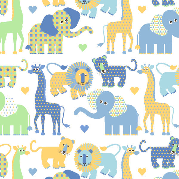 Savannah Animals in Blue - Cotton Fabric By The Yard