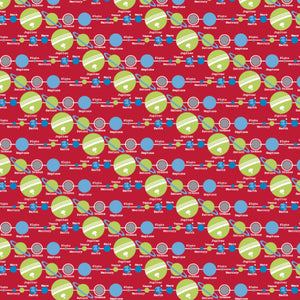 Solar System in Red - Cotton Fabric By The Yard