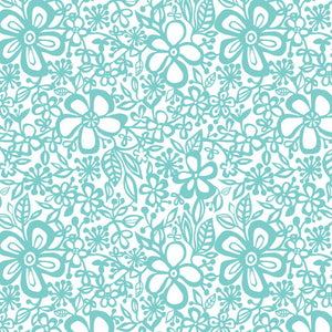 Daisy in Mint - Cotton Fabric By The Yard