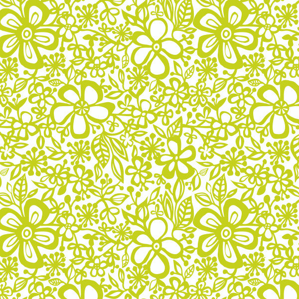 Daisy in Citron - Cotton Fabric By The Yard