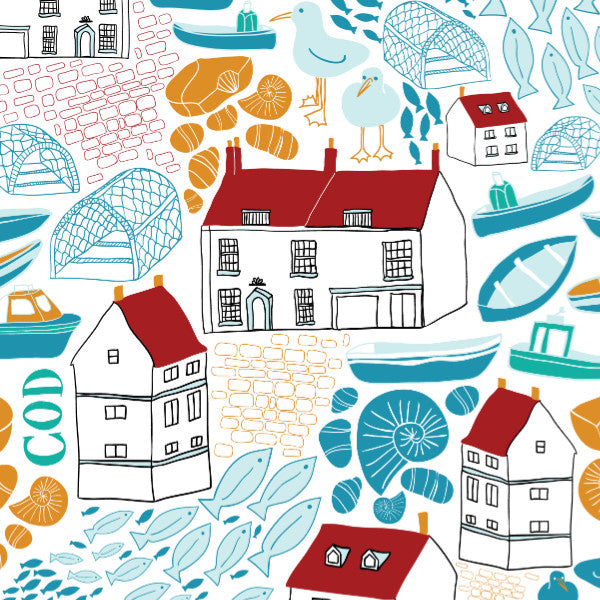 Robin Hoods Bay - Cotton Fabric By The Yard