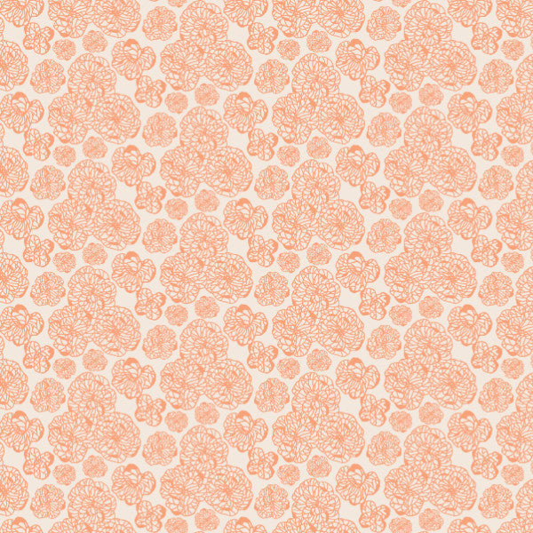 Floral in Coral - Cotton Fabric By The Yard