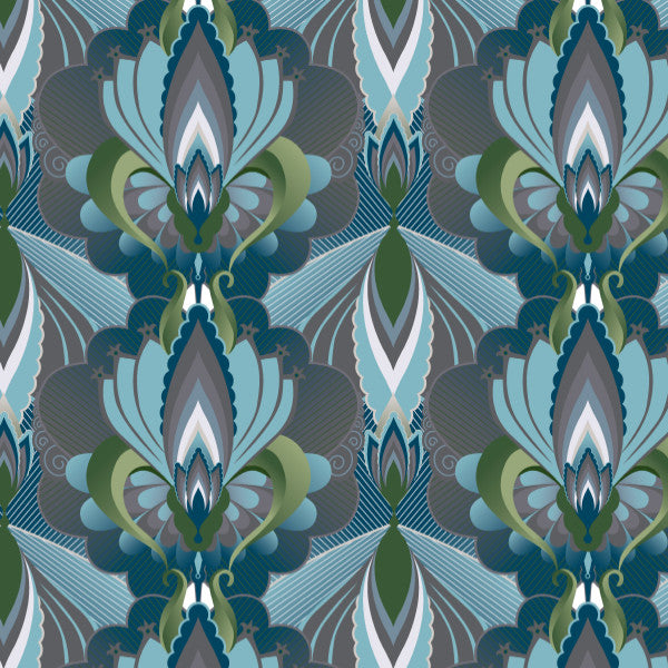 Damask in Blue - Cotton Fabric By The Yard