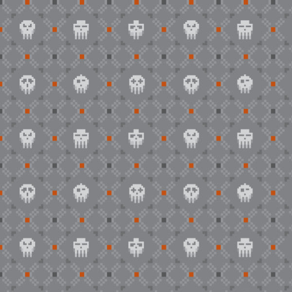 Skull Argyle in Gray - Cotton Fabric By The Yard