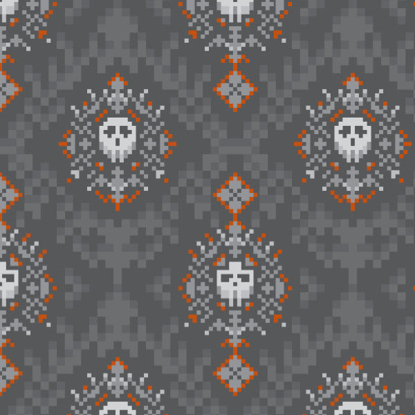 Skull Damask in Dk Gray - Cotton Fabric By The Yard