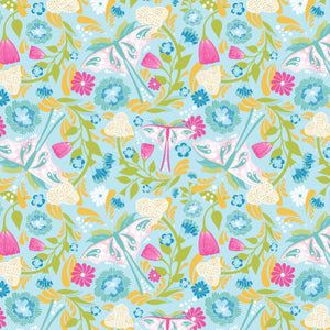 Butterfly Garden in Blue - Cotton Fabric By The Yard