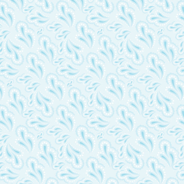 Paisley in Lt Blue - Cotton Fabric By The Yard