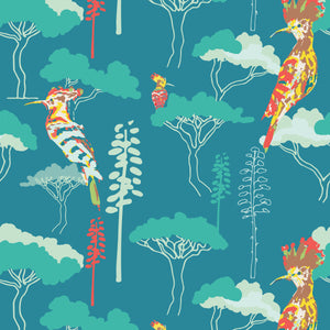 Hoopoe Heaven in Dark Teal - Cotton Fabric By The Yard
