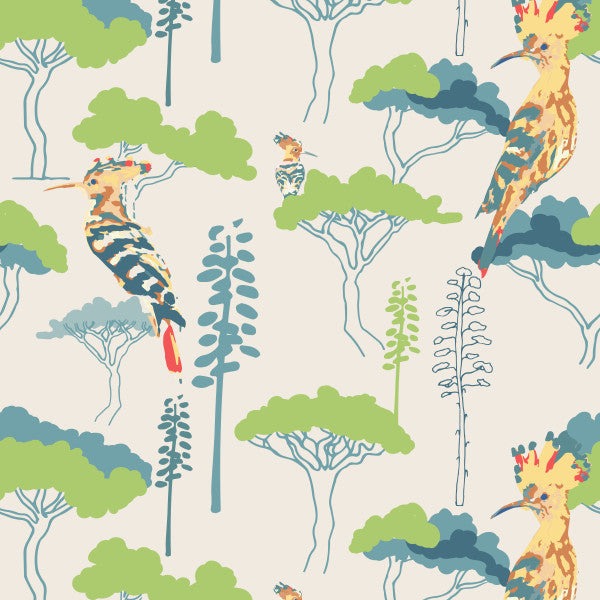 Hoopoe Heaven in Cream - Cotton Fabric By The Yard