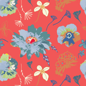 In Bloom in Red - Cotton Fabric By The Yard