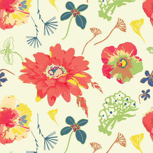 In Bloom in Cream - Cotton Fabric By The Yard