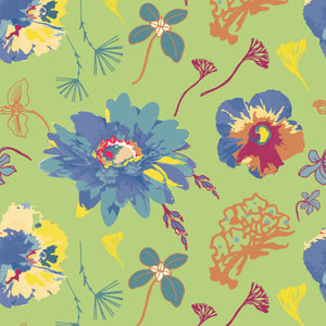 In Bloom in Green - Cotton Fabric By The Yard