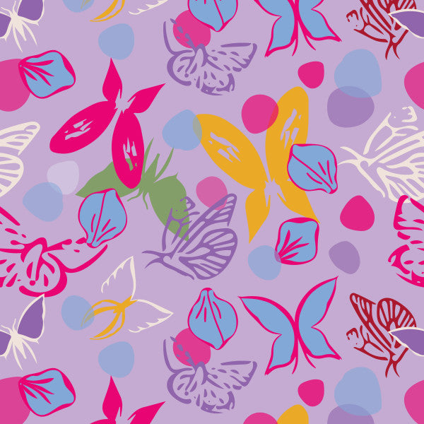 Falling Petals in Purple - Cotton Fabric By The Yard