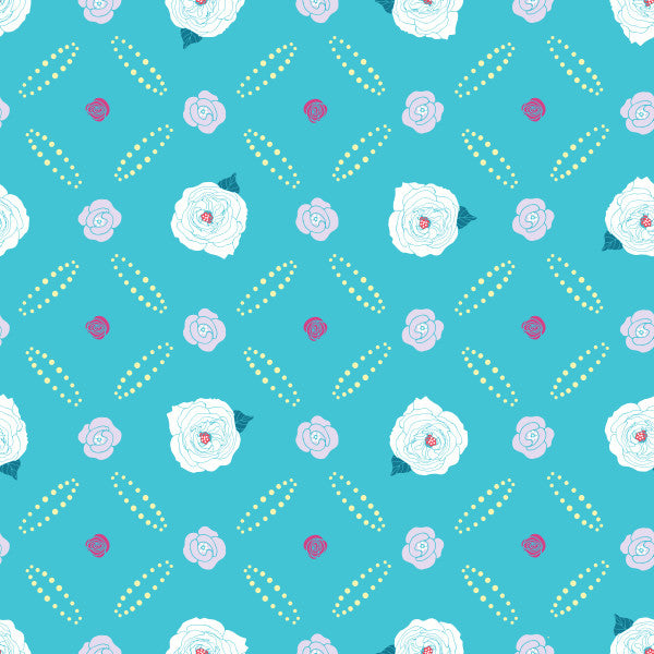 Diamond Rose in Blue - Cotton Fabric By The Yard