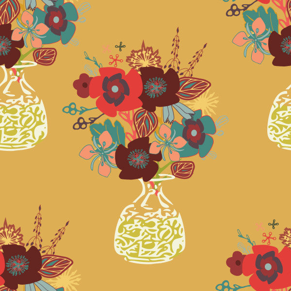 Autumn Blooms in Carmel - Cotton Fabric By The Yard