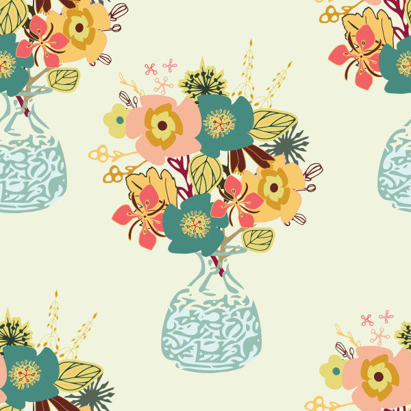 Autumn Blooms in Mint - Cotton Fabric By The Yard