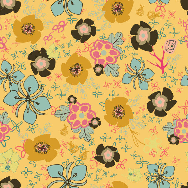 Ditsy Flowers in Yellow - Cotton Fabric By The Yard