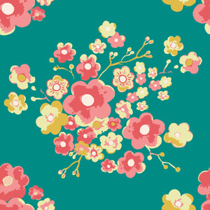 Painterly Floral in Green - Cotton Fabric By The Yard