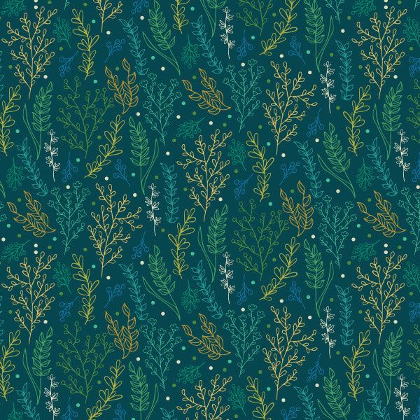 Folliage in Teal - Cotton Fabric By The Yard