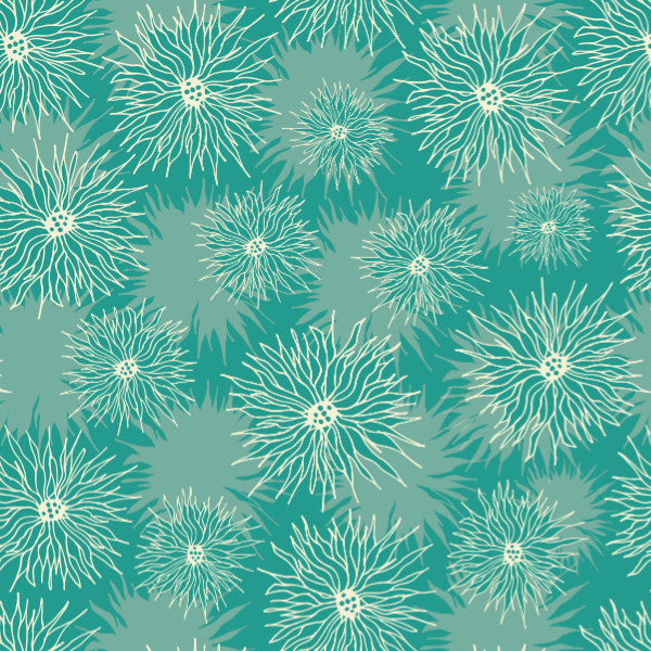 Daisies in Green - Cotton Fabric By The Yard