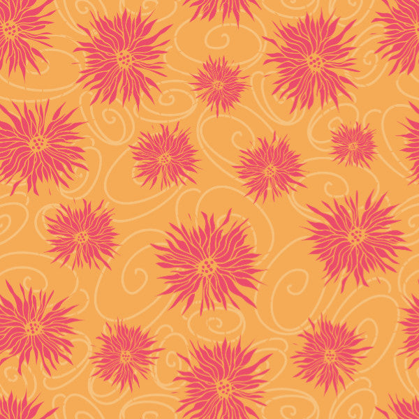 Daisies in Yellow Orange - Cotton Fabric By The Yard
