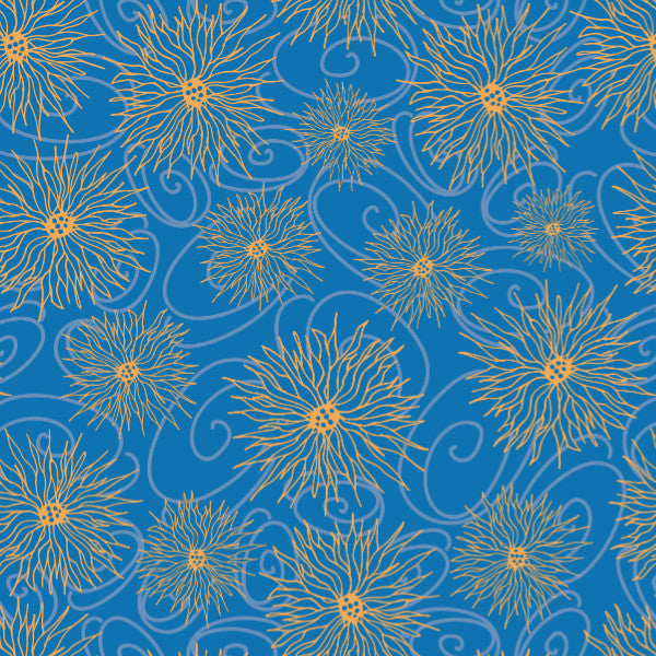 Daisies in Blue Orange - Cotton Fabric By The Yard